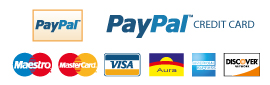 Payments with Paypal and Paypal credit cards.